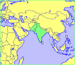 Map showing location of India and Pakistan