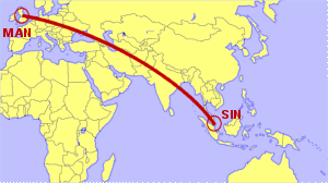 Direct Flights Manchester to Singapore